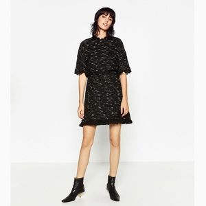 ZARA Black Short Sleeve Dress S